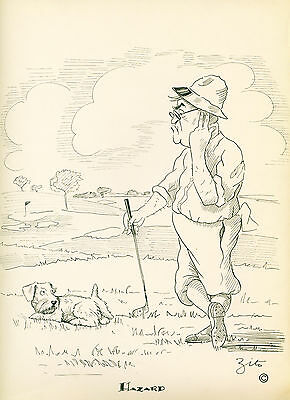 Golf Dog Print 1937 Sealyham Terrier on Gold Course Golfer is confused VINTAGE