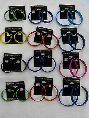 Wholesale Bulk Lot of 12 Colored Hoop Earrings Assorted Sizes & Colors # 334