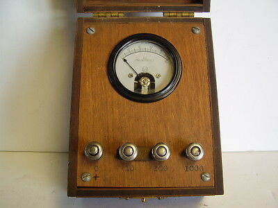 Vintage 0 to 100 DC milliamperes small meter in wooden box