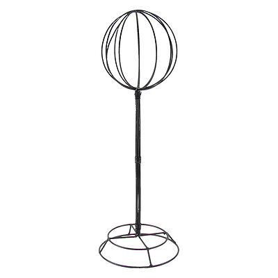 """Vintage Tabletop Black Metal Wire Hat/Wig Stand 22"""" Tall Hats/Wigs Display Ball"""