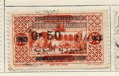 Great Lebanon 1928 Early Issue Fine Used 50p. Surcharged Optd 109556