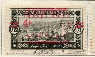 Great Lebanon 1928 Early Issue Fine Used 4p. Surcharged Optd 109558