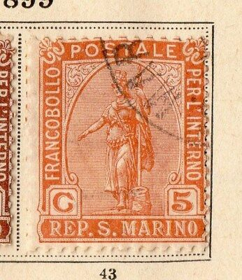 San Marino 1899 Early Issue Fine Used 5c. 109643