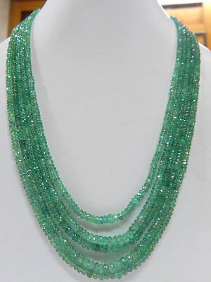 "280 Ct Fine Quality 100% Natural Emerald Rondelle Beads Necklace 16"" (2.5*5.5 mm"