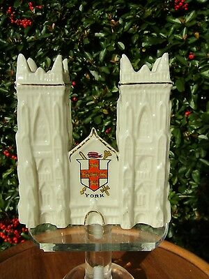 Crested West Front York Cathedral with Matching York Crest in VGC Carlton China