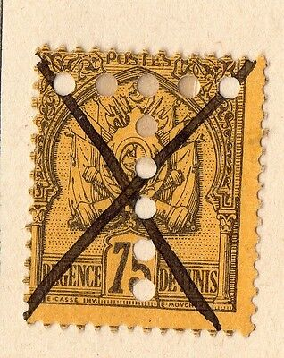 Tunisia 1888 Early Issue Fine Used 75c. Hole Punched 109927