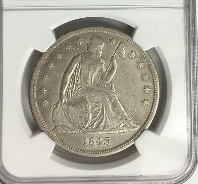 1843 ~ S$1 Seated Liberty Silver Dollar !!! NGC XF CONDITION COIN !!! RARE !!!