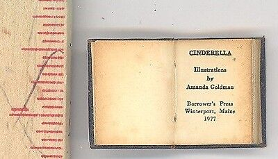 book miniature 3/4 in. leather Cinderella illustrated Amanda Goldman Borrower's