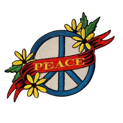 Peace Sign Yellow Daisy Embroidered Iron On Hippie Patch