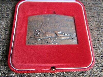 Large Art Deco French Bronze Medal Showing Nude Lady Original Box