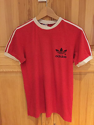 Vintage 70s/80s ADIDAS T-SHIRT Trefoil Ringer 3-Stripe in RED size SMALL