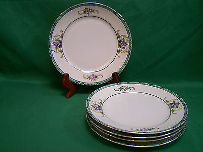 "5 ~ Antique Made in Japan ~China~7 1/4"" Salad Plates~Pre.1891~Bouquet of Flowers"