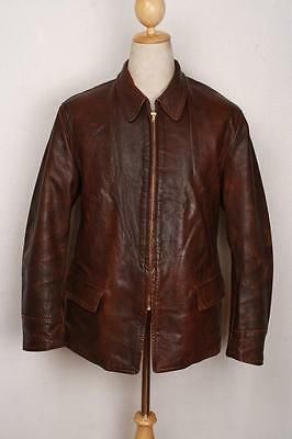Vtg 1940s Lawton Sports GOATKSIN Leather Half Belt Motorcycle Jacket 40/42
