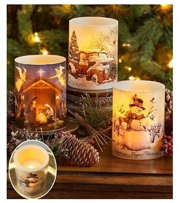 LED Christmas Candle Window Centerpiece Holiday Flameless Battery Operated Decor