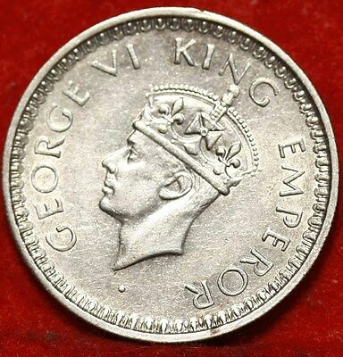 1945 India 1/2 Rupee Silver Foreign Coin Free S/H