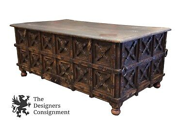 """Antique Handmade Carved 59"""" Rustic Reclaimed Indonesian Trunk Storage Chest"""