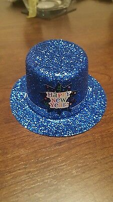New Pack of 12 Happy new year party hats in a blue Glitter!!!