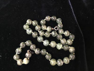 """Antique Chinese Qing green jade bead necklace 19"""""""