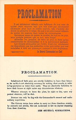 POSTCARD  MILITARY  WWI  PROCLAMATION    Inhabitants  of  both  sexes....