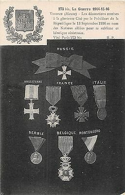 Postcard  Military  Medals    Wwi
