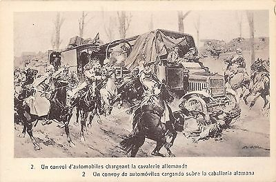 POSTCARD  MILITARY    WWI    Cavalery  Charge  against  a  Convoy