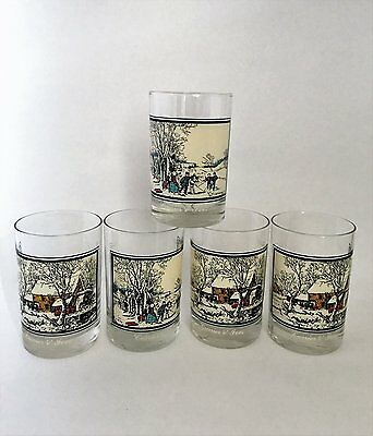 Set of 5 Vintage 1978 Arby's Currier and Ives Drinking Glass Tumbler Highball