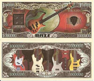 Bass Guitar Right to Rock and Roll Dollar Bills x 4 Musical Instrument