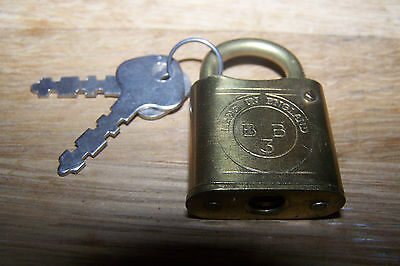"A Vintage English Brass Padlock And Two Keys. ""bb""."