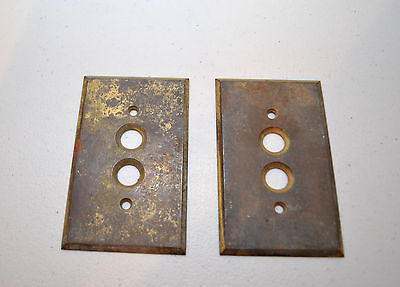 Antique Double Brass Push Button Light Switch Covers