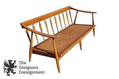 MID CENTURY MODERN Walnut Spindle Back Danish Sofa Bench Seat Couch ...