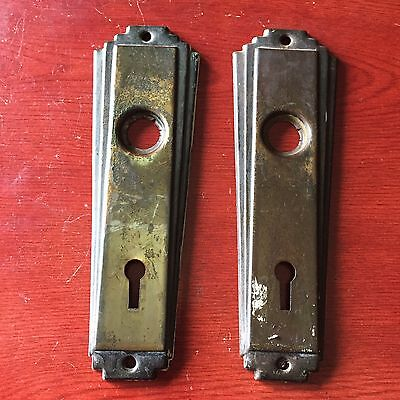 VTG Antique Pair Of  Art Noveau Stamped  Door Knob Backplates