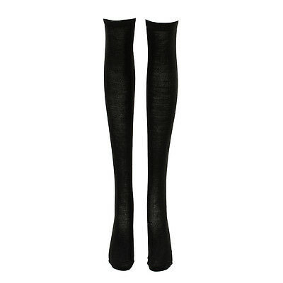 Sunny Women Black Color Contrast Stretchy Knee High Socks Stockings