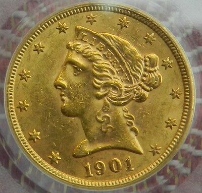 1901 S $5 Gold Liberty Head Half Eagle PCGS MS62