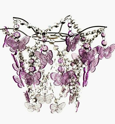 Kids/Girls Pink Butterfly Jewelled Pendant Light Shade Brand New