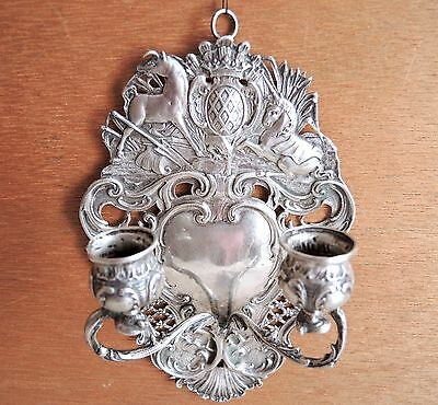 Antique Hanau Germany Silver Sconce Candleholder Mythical 19th-C Export Sterling