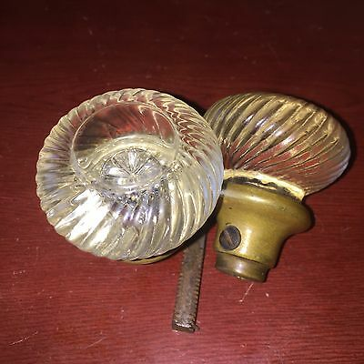 Antique Pair Of Pressed Clear Glass Passage Doorknobs