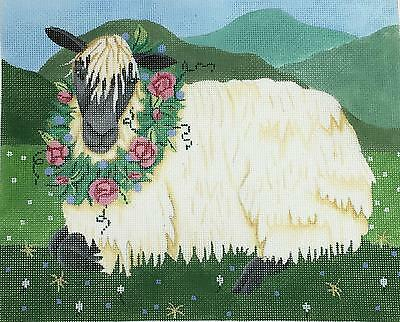"""""""Sheep with Flower Wreath""""  handpainted Needlepoint Canvas by Brenda Stofft"""