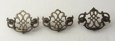 Vintage BRASS DRAWER PULLS with Bail Handles and Openwork EXCELLENT CONDITION!