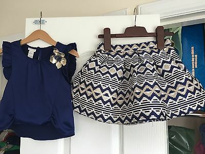 Monsoon Girls Navy Blue White Gold Aztec Skirt Corsage Top 4 3-4 Christmas Party