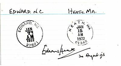 Edward Heath Signed Library Card With Letter
