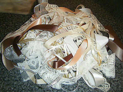 Lace And Ribbon Mixed Bundle -  20 Metres Natural & Pink Roll Ends & Offcuts