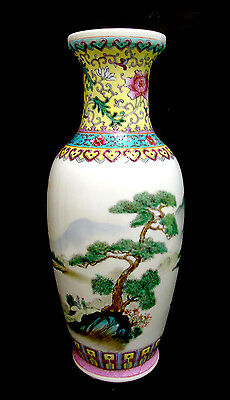 Chinese Famille Rose Vase with Handpainted Landscape, early to mid 1900s