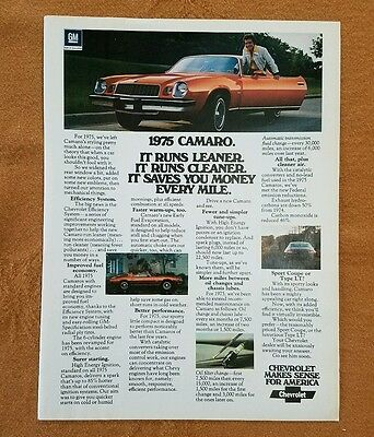 1975 Chevrolet Camaro -  Original Print Car Ad