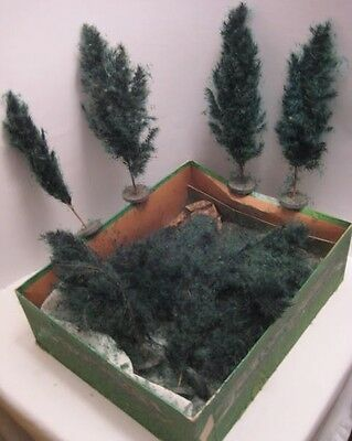 14 Old Garden Landscape Trees for Christmas Putz Village Made of Plants / Seeds