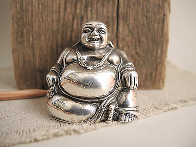 Sterling Silver Buddha Figurine Solid 925 Religious Altar Sculpture Statue 125 g