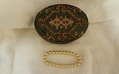 ANTIQUE LEATHER BAND BOX and BRACELET silk lined made in Italy