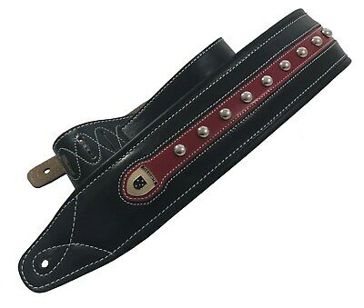"Genuine Leather Soft Padded ""Red Bullet"" Supreme Guitar Strap"