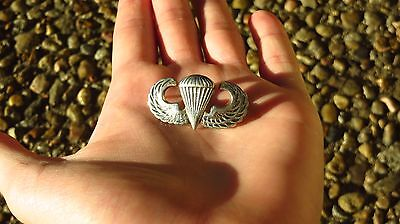 Vintage US Army Parachute Jump Wings Sterling Silver Korea Vietnam  Era Military