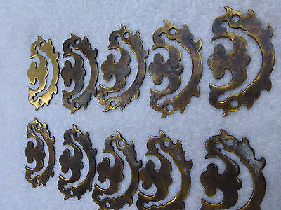 Ten Drawer pull handles back plates brass
