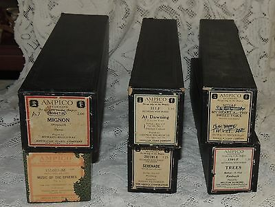 6 Vintage Player Piano..AMPICO ..AT DAWNING-TREES-MIGNON & MORE....1920's